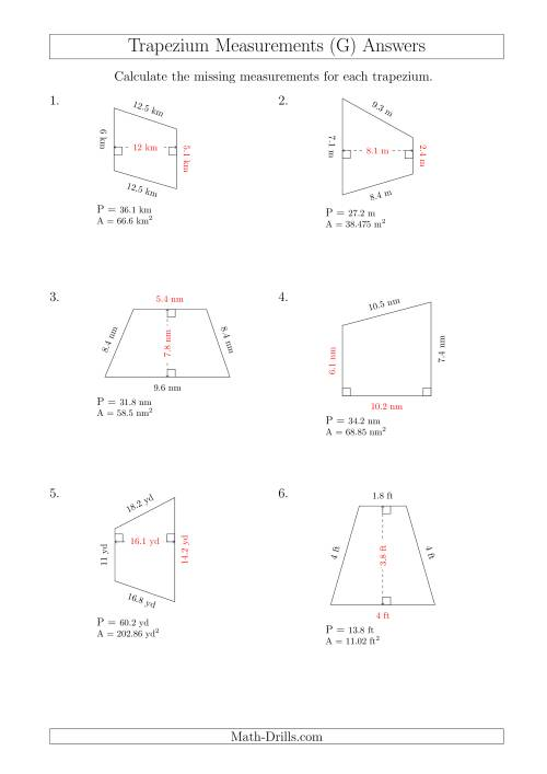The Calculating Bases and Heights of Trapeziums (G) Math Worksheet Page 2
