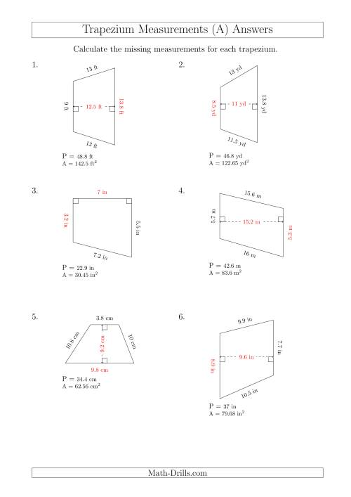 Calculating Bases and Heights of Trapeziums (All)