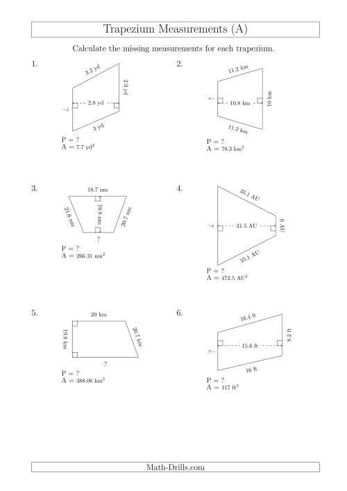The Calculating Bases and Perimeters of Trapeziums (A) Math Worksheet