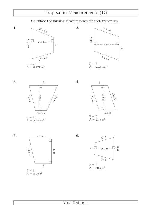Calculating Bases and Perimeters of Trapeziums (D