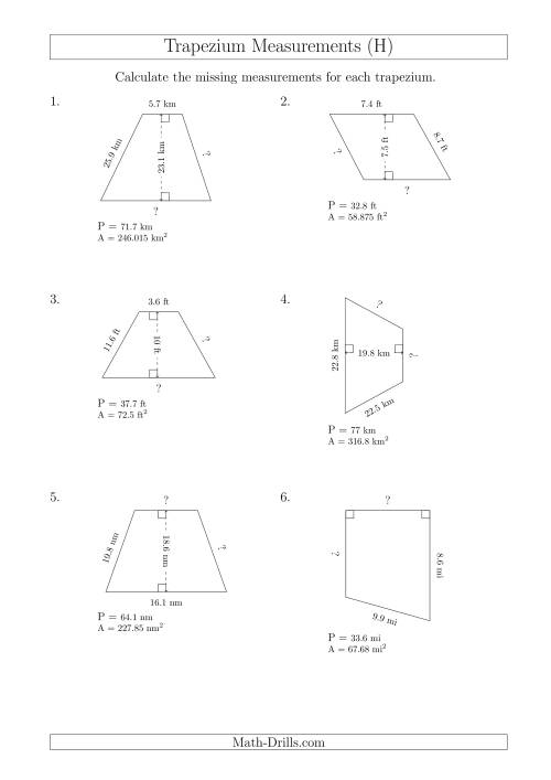 The Calculating Bases and Sides of Trapeziums (H) Math Worksheet