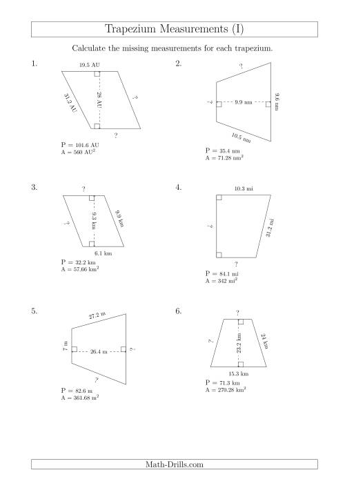The Calculating Bases and Sides of Trapeziums (I) Math Worksheet