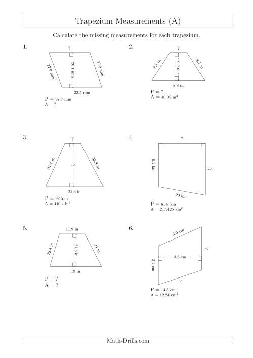 The Calculating Various Measurements of Trapeziums (A) Math Worksheet