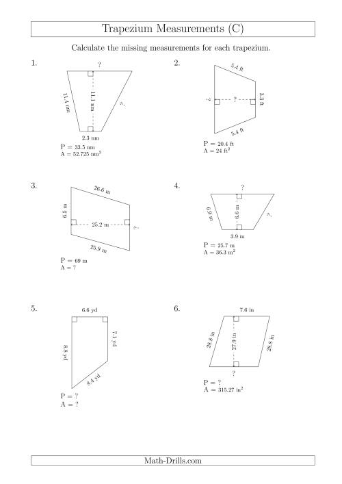 The Calculating Various Measurements of Trapeziums (C) Math Worksheet