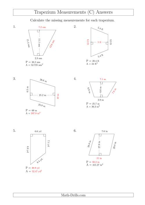 The Calculating Various Measurements of Trapeziums (C) Math Worksheet Page 2