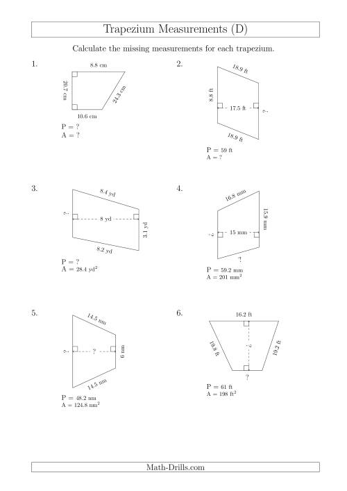 The Calculating Various Measurements of Trapeziums (D) Math Worksheet