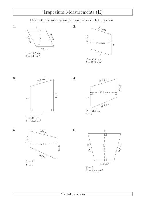 The Calculating Various Measurements of Trapeziums (E) Math Worksheet
