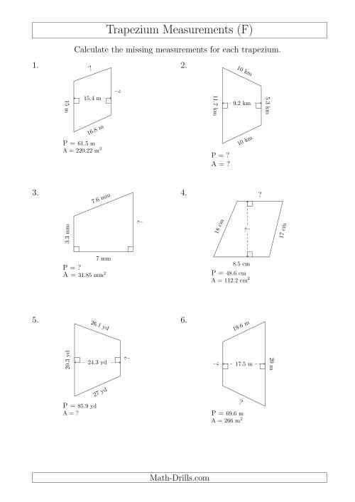 The Calculating Various Measurements of Trapeziums (F) Math Worksheet