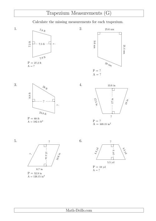 The Calculating Various Measurements of Trapeziums (G) Math Worksheet