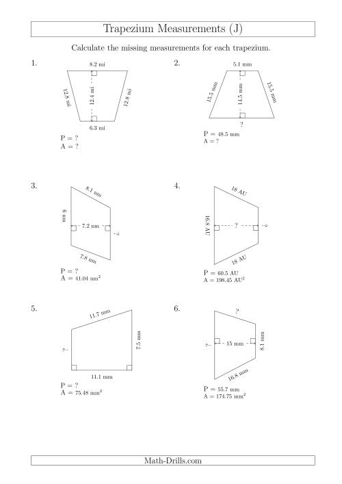 The Calculating Various Measurements of Trapeziums (J) Math Worksheet