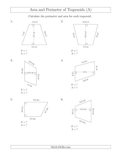 The Calculating the Perimeter and Area of Trapezoids (Smaller Numbers) (A) Math Worksheet