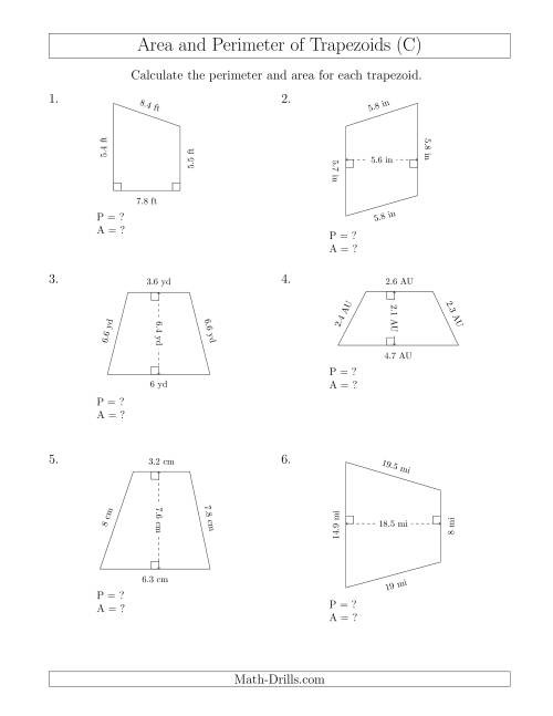 The Calculating the Perimeter and Area of Trapezoids (Smaller Numbers) (C) Math Worksheet