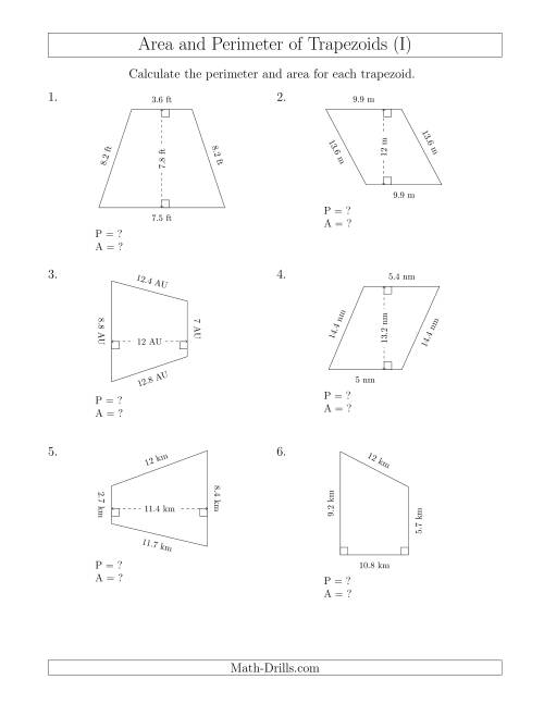 The Calculating the Perimeter and Area of Trapezoids (Smaller Numbers) (I) Math Worksheet