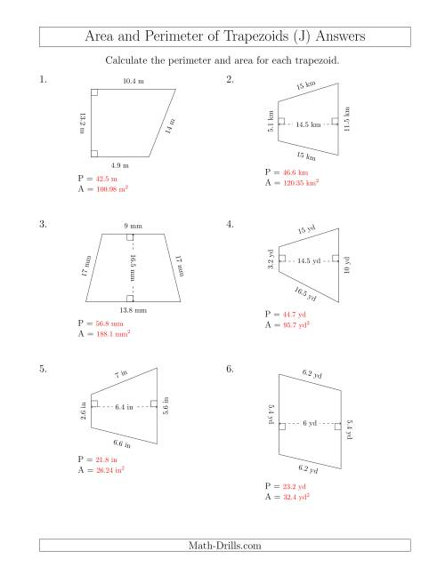 The Calculating the Perimeter and Area of Trapezoids (Smaller Numbers) (J) Math Worksheet Page 2