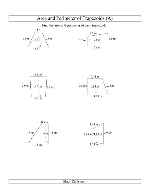 The Area and Perimeter of Trapezoids (up to 1 decimal place; range 1-5) (Old) Math Worksheet