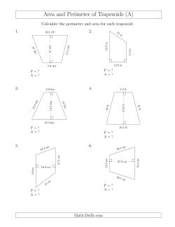 Calculating the Perimeter and Area of Trapezoids (Larger Numbers) (A)
