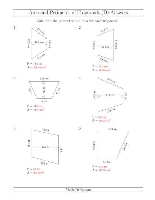 Calculating the Perimeter and Area of Trapezoids (Larger