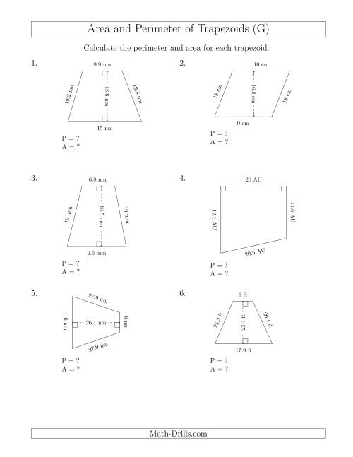 The Calculating the Perimeter and Area of Trapezoids (Larger Numbers) (G) Math Worksheet
