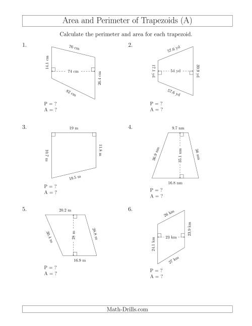 The Calculating the Perimeter and Area of Trapezoids (Even Larger Numbers) (A) Math Worksheet