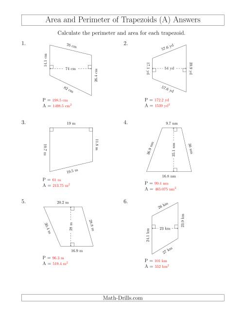 The Calculating the Perimeter and Area of Trapezoids (Even Larger Numbers) (A) Math Worksheet Page 2