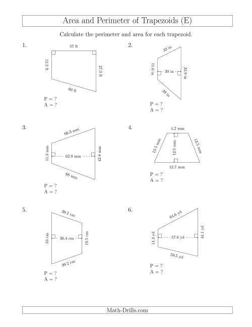 The Calculating the Perimeter and Area of Trapezoids (Even Larger Numbers) (E) Math Worksheet
