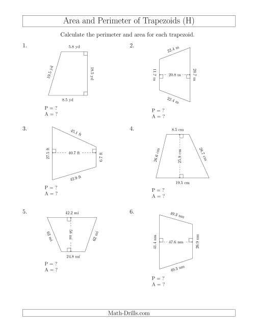 The Calculating the Perimeter and Area of Trapezoids (Even Larger Numbers) (H) Math Worksheet