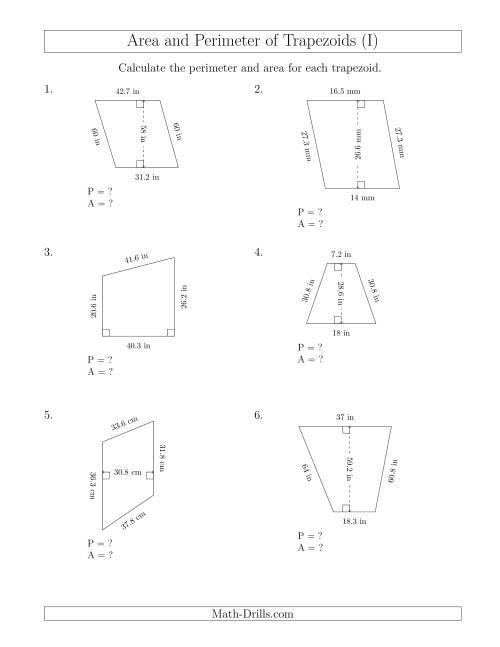 The Calculating the Perimeter and Area of Trapezoids (Even Larger Numbers) (I) Math Worksheet
