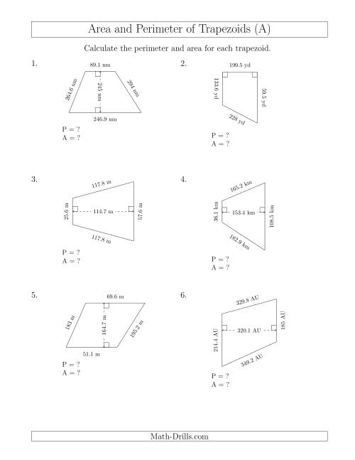 The Calculating the Perimeter and Area of Trapezoids (Larger Still Numbers) (A) Math Worksheet