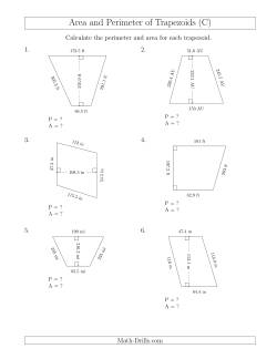 calculating the perimeter and area of trapezoids larger still numbers c measurement worksheet. Black Bedroom Furniture Sets. Home Design Ideas