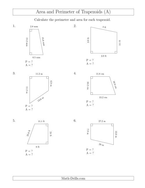 The Calculating the Perimeter and Area of Right Trapezoids (A) Math Worksheet