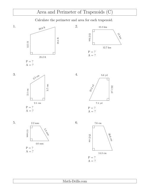 calculating the perimeter and area of right trapezoids c measurement worksheet. Black Bedroom Furniture Sets. Home Design Ideas