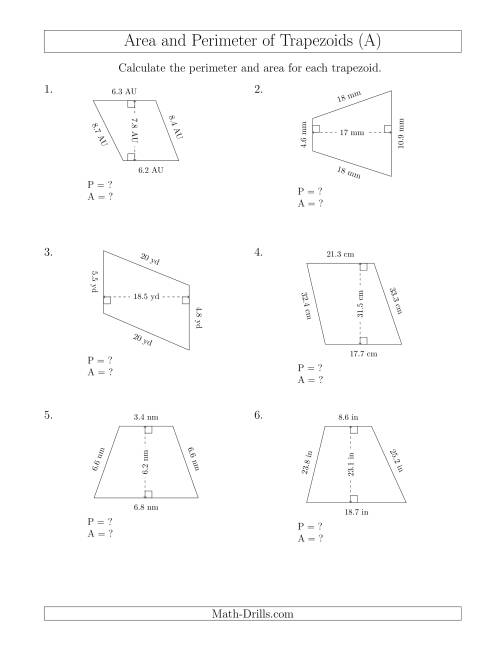 The Calculating the Perimeter and Area of Scalene Trapezoids (A) Math Worksheet