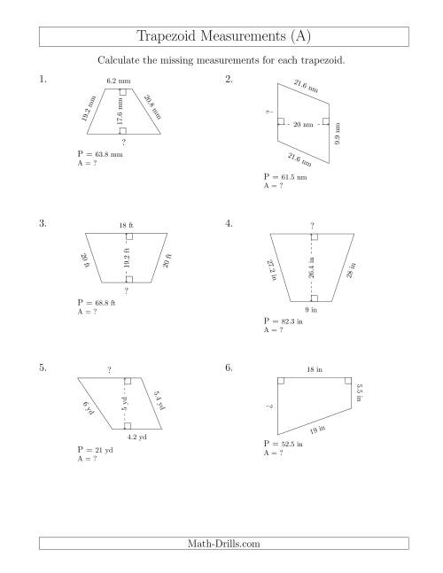 The Calculating Bases and Areas of Trapezoids (A) Math Worksheet