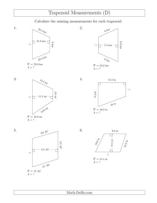 The Calculating Bases and Areas of Trapezoids (D) Math Worksheet