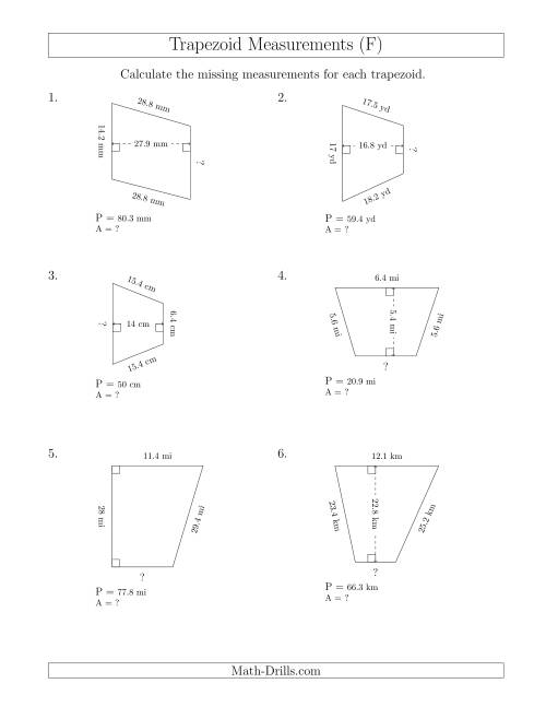 The Calculating Bases and Areas of Trapezoids (F) Math Worksheet