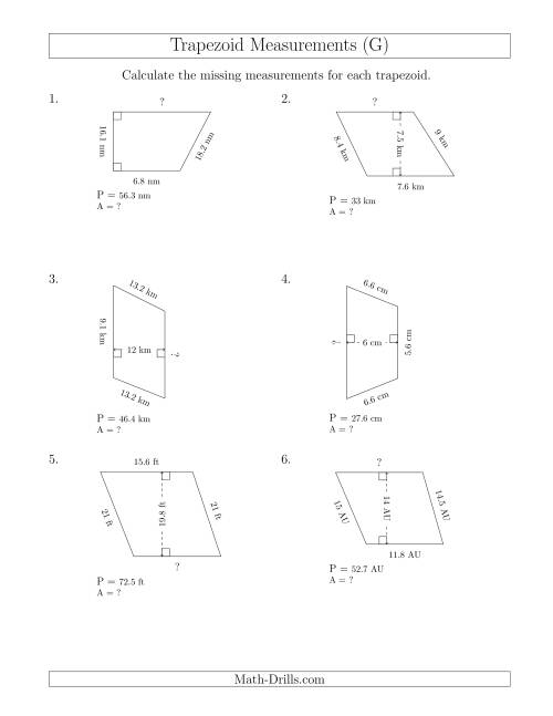 The Calculating Bases and Areas of Trapezoids (G) Math Worksheet