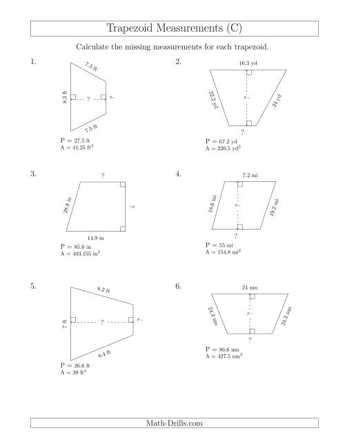The Calculating Bases and Heights of Trapezoids (C) Math Worksheet