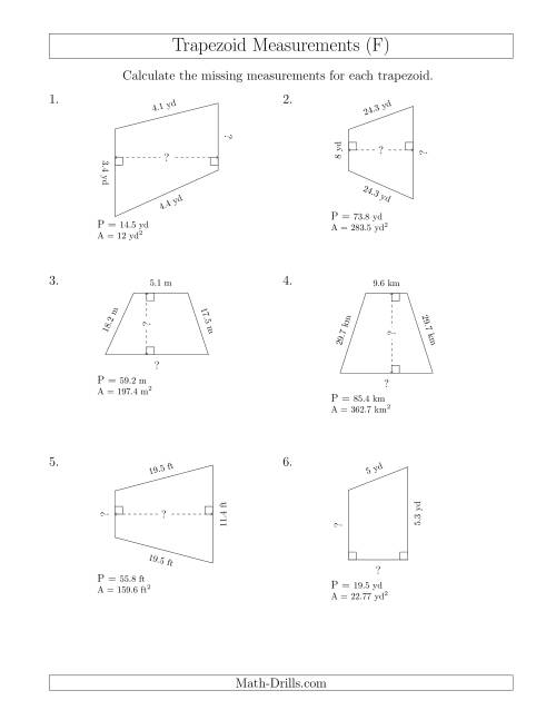 The Calculating Bases and Heights of Trapezoids (F) Math Worksheet