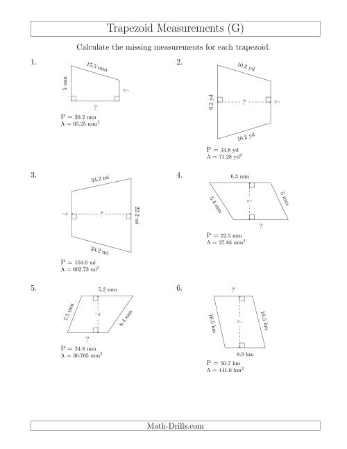 The Calculating Bases and Heights of Trapezoids (G) Math Worksheet