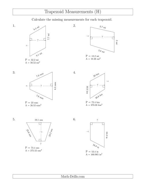 The Calculating Bases and Heights of Trapezoids (H) Math Worksheet