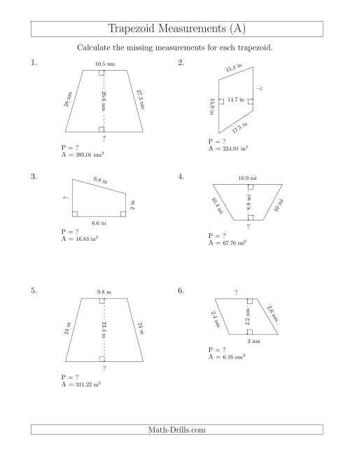 The Calculating Bases and Perimeters of Trapezoids (A) Math Worksheet