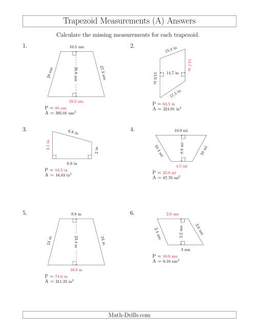 The Calculating Bases and Perimeters of Trapezoids (A) Math Worksheet Page 2