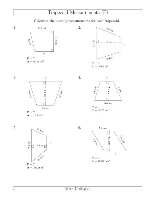 The Calculating Bases and Perimeters of Trapezoids (F) Math Worksheet