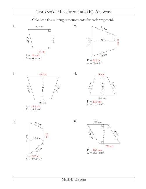 The Calculating Bases and Perimeters of Trapezoids (F) Math Worksheet Page 2