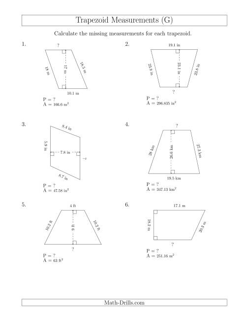 The Calculating Bases and Perimeters of Trapezoids (G) Math Worksheet
