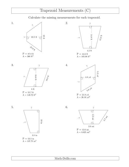 The Calculating Bases and Sides of Trapezoids (C) Math Worksheet