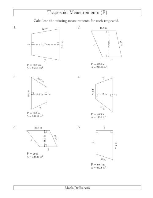The Calculating Bases and Sides of Trapezoids (F) Math Worksheet