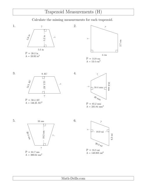 The Calculating Bases and Sides of Trapezoids (H) Math Worksheet
