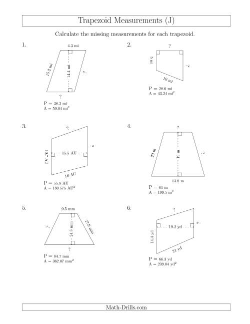 The Calculating Bases and Sides of Trapezoids (J) Math Worksheet