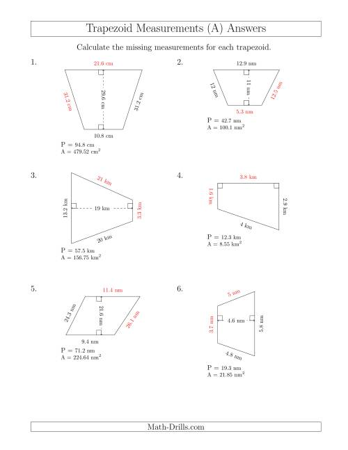 The Calculating Bases and Sides of Trapezoids (All) Math Worksheet Page 2